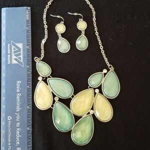 Turquoise and yellowish stone necklace and earings